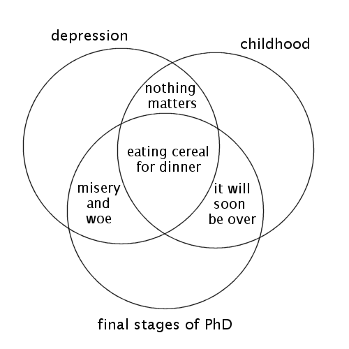 Venn diagram of the thesis writing experience