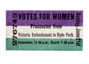 Front view of an admission ticket to the Hyde Park demonstration organised by the Women's Social and Political Union on Sunday 21st June 1908 (from the Museum of London)